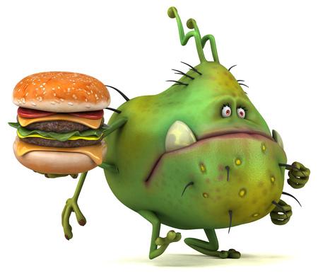 bacteria cartoon: Fun germ - 3D Illustration
