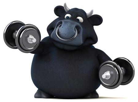 beast ranch: Fun black bull - 3D Illustration