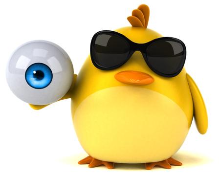 Yellow bird - 3D Illustration Stock Photo