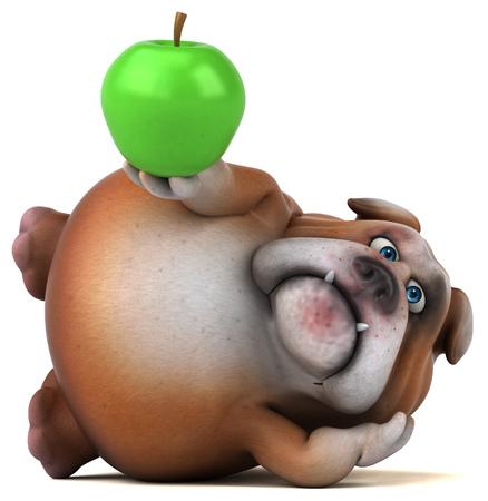 dog: Fun bulldog - 3D Illustration