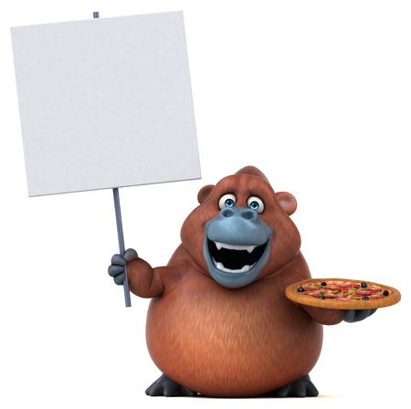 Fun orangutan - 3D Illustration Stock Photo