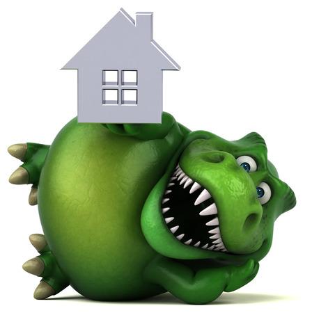 monsters house: Fun dinosaur - 3D Illustration