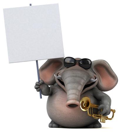 재미있는 코끼리 - 3D 일러스트 레이션 스톡 콘텐츠