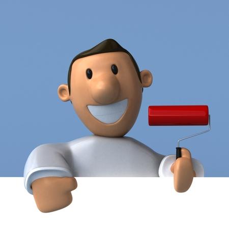 paint can: Cartoon painter - 3D Illustration