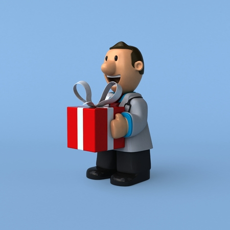 christmas gifts: Cartoon doctor - 3D Illustration