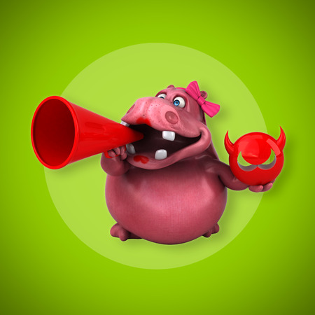abdomen women: Pink Hippo - 3D Illustration