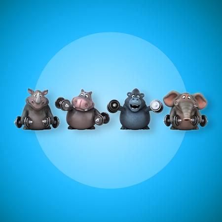 Ajoute l'hippopotame, le rhinocéros, l'éléphant et le gorille - Illustration 3D Banque d'images - 84327504