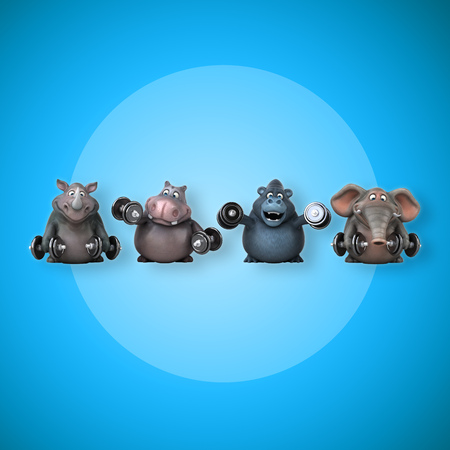 Fit nijlpaard, neushoorn, olifant en gorilla - 3D illustratie