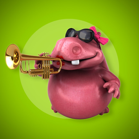 Pink Hippo - 3D Illustration
