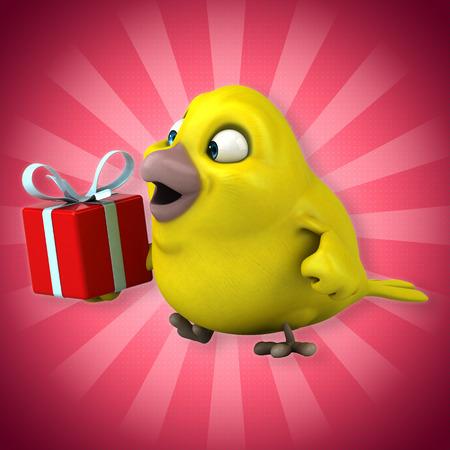 Cartoon robin with a gift box