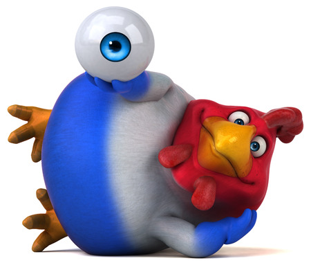 Cartoon chicken laying down and holding an eyeball
