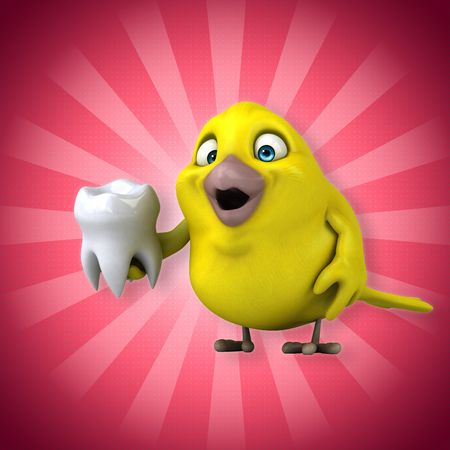 Cartoon bird holding a tooth