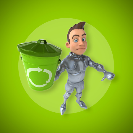 Knight character holding a recycle bin and showing thumbs down gesture Stock Photo