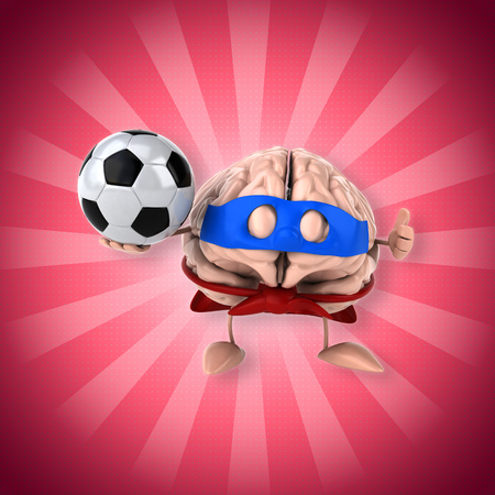 Brain character with superhero disguise holding a soccer ball Stock Photo