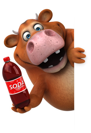 Fun cow - 3D Illustration Stock Illustration - 84347343