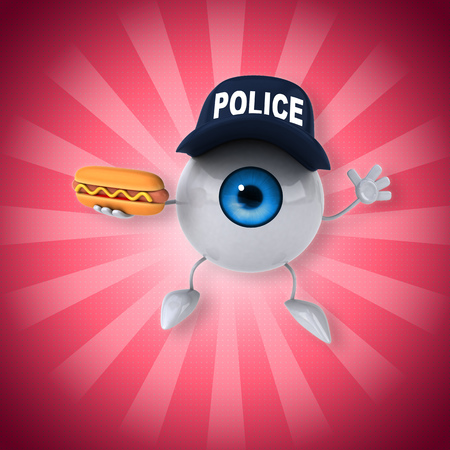 Eyeball character with police hat holding a hotdog