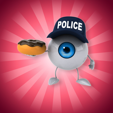Eyeball character with police hat holding a donut