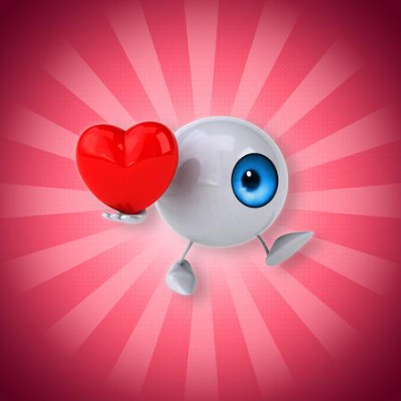 Eyeball character holding a heart