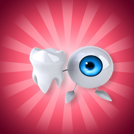 Eyeball character holding a tooth