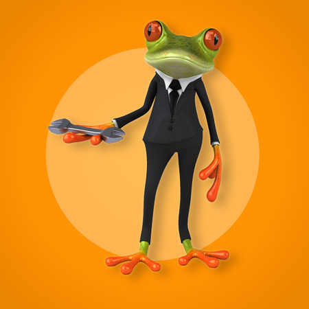 Frog character in suit holding a wrench