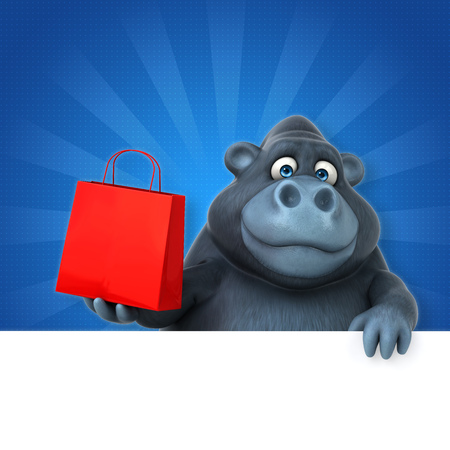 Fun gorilla - 3D Illustration Stock Photo