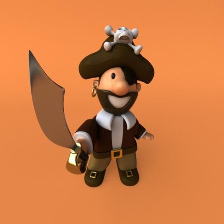 piracy: Fun pirate - 3D illustration