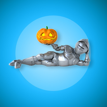 Knight character laying down and holding a pumpkin