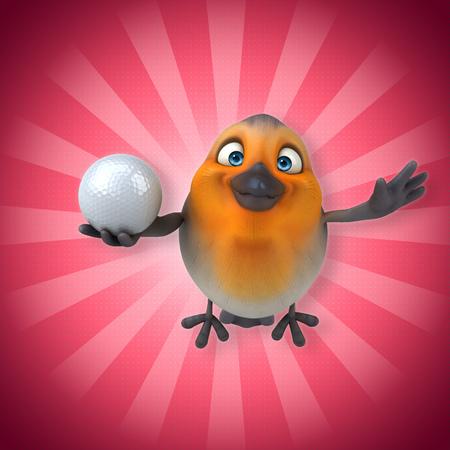 Cartoon bird flying and holding a golf ball