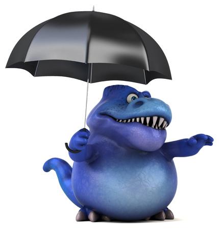cartoon umbrella: Fun dinosaur - 3D Illustration