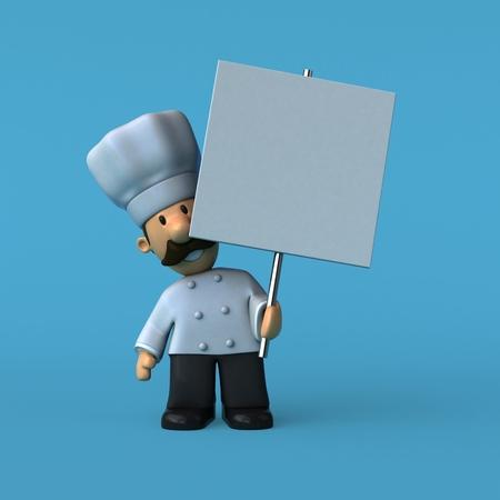 Leuke chef-kok - 3D-illustratie