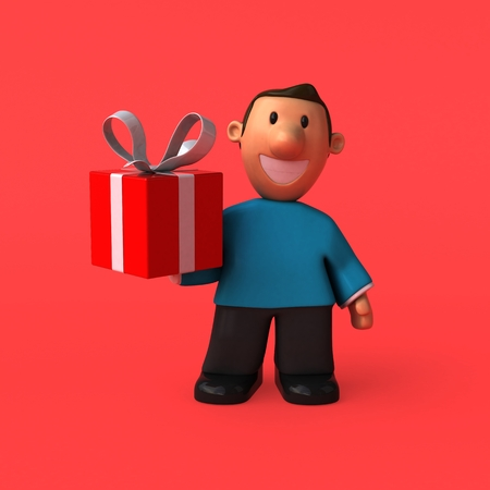 christmas gifts: Cartoon character - 3D Illustration