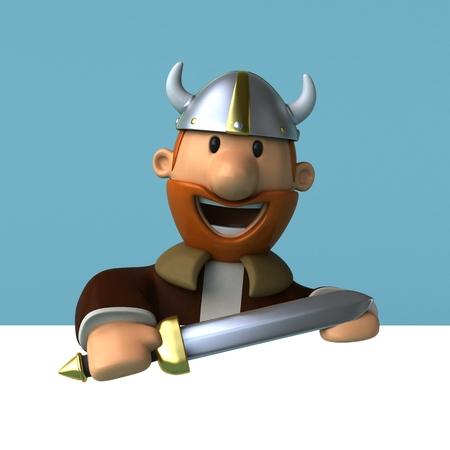 warriors: Viking - 3D Illustration Stock Photo