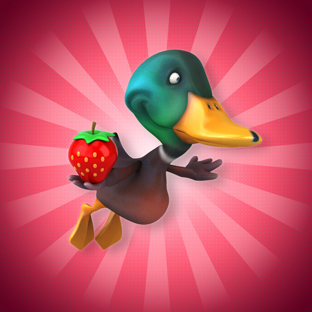 Mallard duck character holding a strawberry