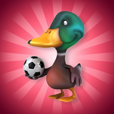 Mallard duck character holding a soccer ball Stock Photo