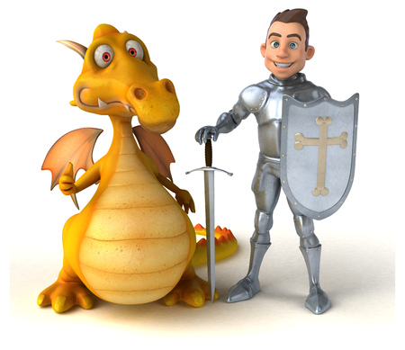 Knight and dragon - 3D Illustration Stock Photo