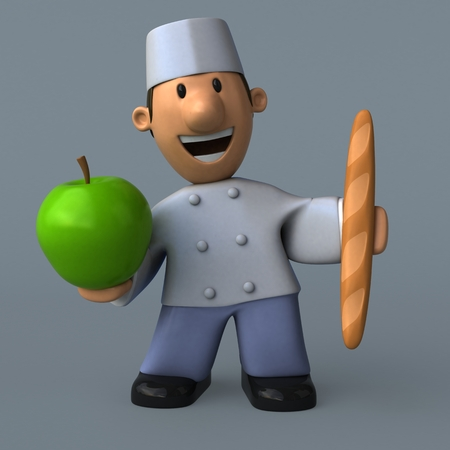 Cartoon baker - 3D Illustration Stock Photo