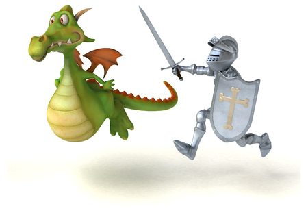 Knight and dragon - 3D Illustration Stok Fotoğraf