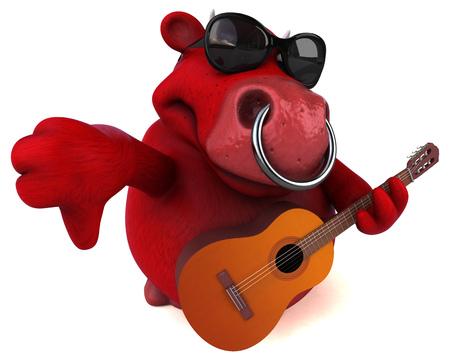 Fun red bull - 3D Illustration Stock Photo