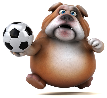 deportes caricatura: Divertido bulldog - Ilustración 3D