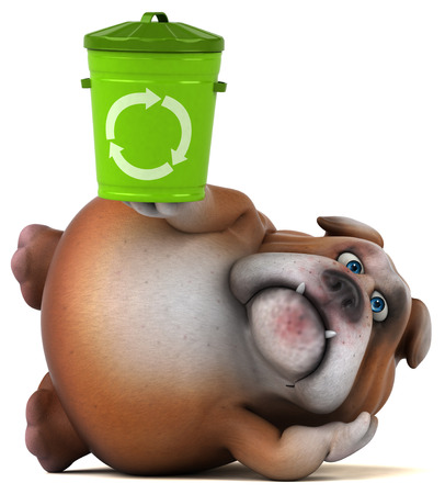 Bulldog character lying down with a recycle bin