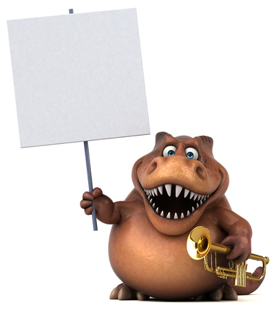 Dinosaur character holding a signboard and trumpet