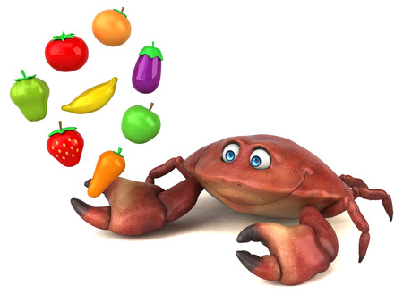cartoon tomato: Fun crab - 3D Illustration Stock Photo