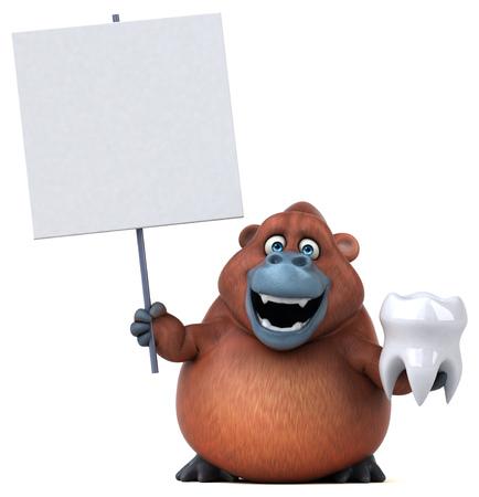 Fun orangoutan - 3D Illustration Stock Illustration - 89327101