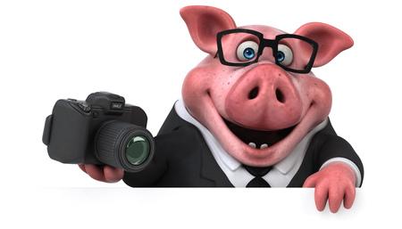 楽しい豚 - 3Dイラスト
