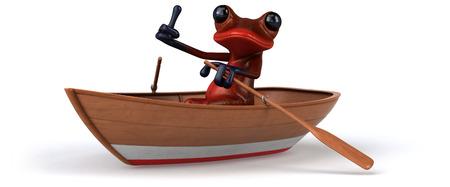 楽しいカエル-3D イラスト