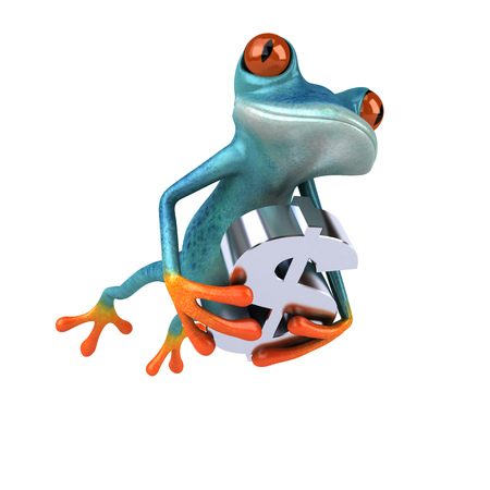 Fun frog- 3D Illustration Stock Illustration - 89334714