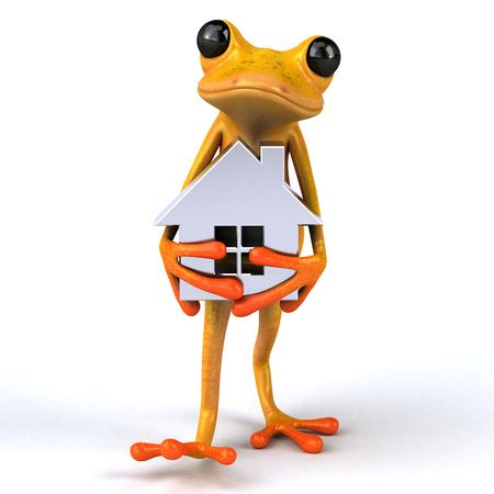 Fun frog- 3D Illustration Stock Illustration - 89334722