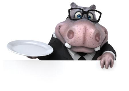 Fun Hippo - 3D Illustratie Stockfoto - 89337322