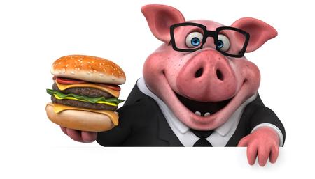 楽しい豚-3D イラスト 写真素材
