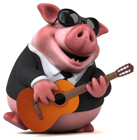 재미 돼지 - 3D 일러스트 레이션 스톡 콘텐츠